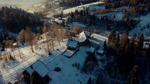 Aerial View of the Village in Winter Mountains, Aerial View of Sunrise in the Winter Mountains