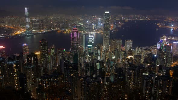 Thumbnail for Hong Kong Skyline Urban Panorama at Night Time Lapse China Zoom Out