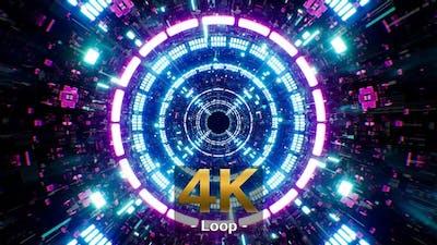 Neon Future Technology Tunnel 4K