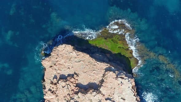 Thumbnail for Aerial View. Ocean with Waves and Rocky Cliff