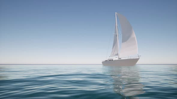 Sailboat on Calm Water For Lifestyle Design Summer Landscape