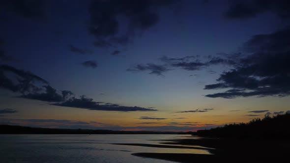 Thumbnail for Dramatic Red Sunset River Landscape, Timelapse