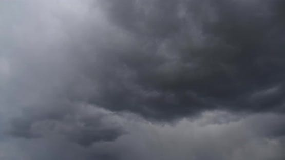 Stormy Snow Clouds. The Sky Is Covered With Thick Clouds. Timelapse