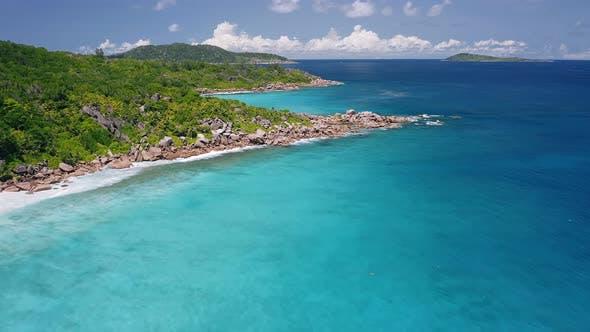 Thumbnail for Aerial Footage of Amazing Tropical Coastline of Unique Paradise La Digue Island. Bizarre Granite