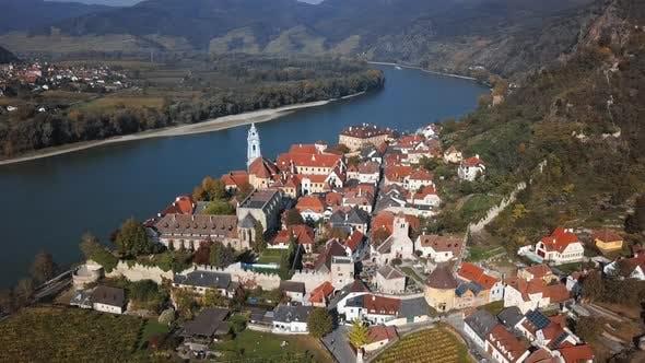 Thumbnail for Aerial of Durnstein, Wachau Valley, Austria.