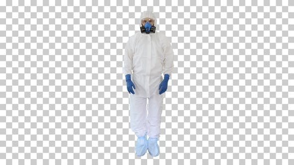 Thumbnail for Doctor wearing protective hazard suit, Alpha Channel