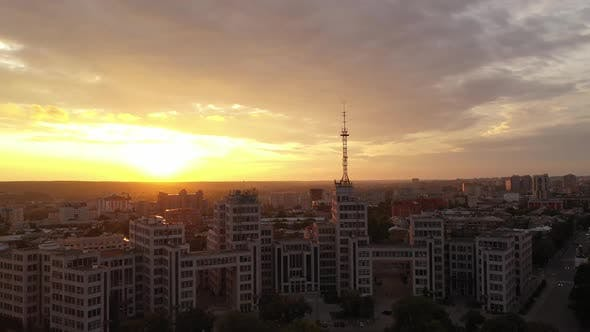 Thumbnail for Kharkov Historical and Famous Building in Front and Top Against the Background of a Beautiful Sunset