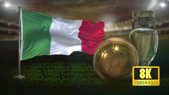 8K Italy Flag With Football and Cup Background Loop
