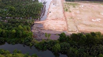 Deforestation land clearing of oil palm estate