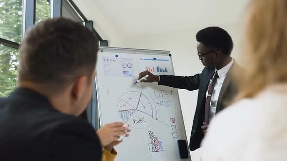Thumbnail for amerikanisch-afrikanischen Geschäftsmann führt Präsentation mit Whiteboard