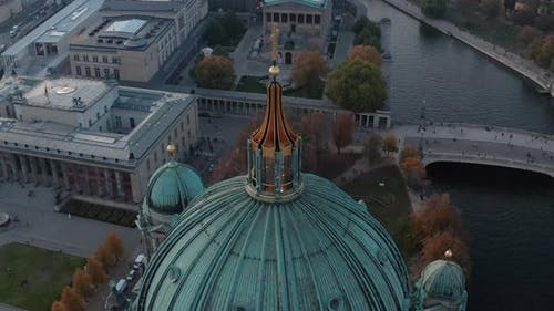 Orbit Shot Around Dome with Cross on Top