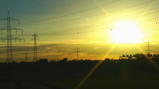 Thumbnail for Electric Poles In The Sunset Time Lapse