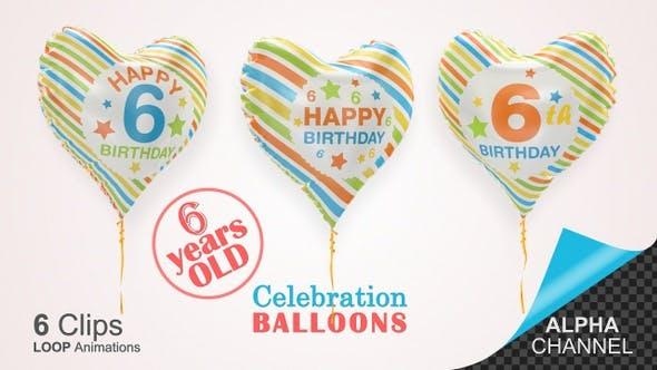 6th Birthday Celebration Helium Balloons / Six Years Old