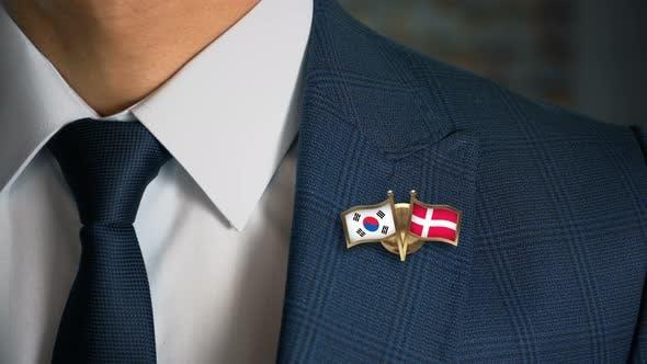 Thumbnail for Businessman Friend Flags Pin South Korea Denmark