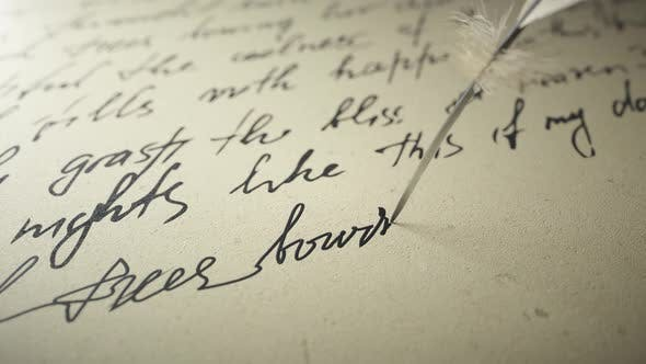 Thumbnail for Ink Pen Writes Poetry on Old Paper