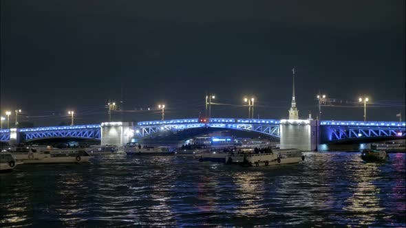 Thumbnail for Timelapse of Moveable Bridge in Nighttime in Saint Petersburg, Famous Palace Bridge