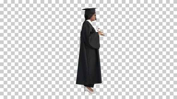 Thumbnail for African American female graduate holding, Alpha Channel