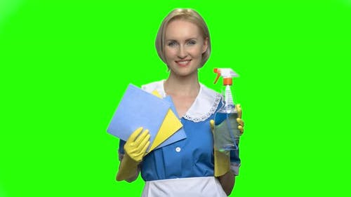 Cleaning Woman Shows Bottle Spray and Napkins