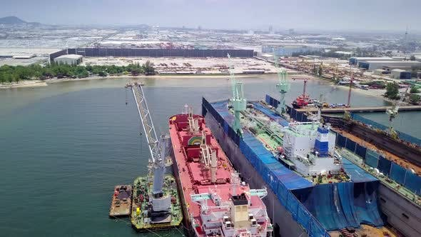 Thumbnail for Aerial View Logistics Concept Floating Dry Dock