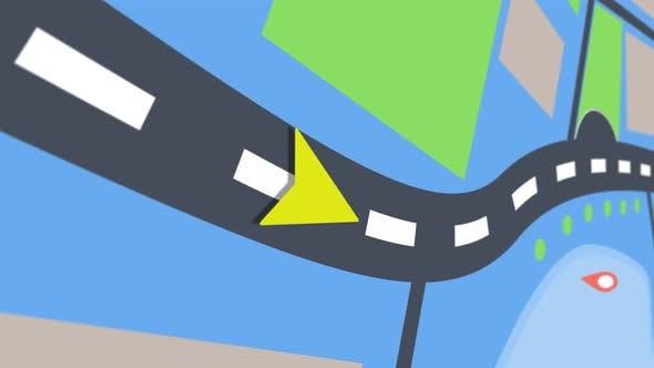Thumbnail for Animation des GPS-Navigators, der die Bewegung des Pfeils um die Stadt zeigt