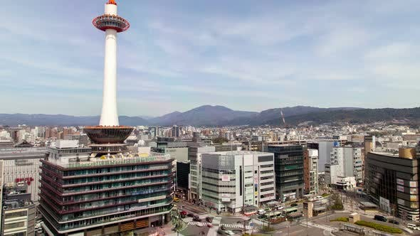 Thumbnail for Kyoto High Tower Cityscape Traffic Japan Timelapse