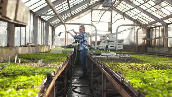 Thumbnail for Female Farmer Watering Plants in Greenhouse - Agriculture