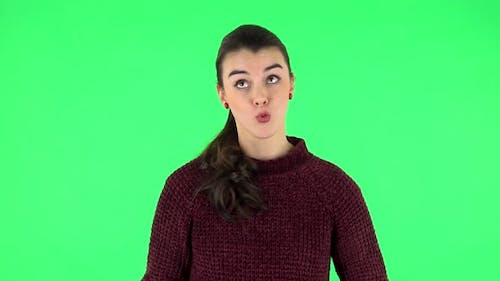Portrait of Annoyed Woman, Green Screen