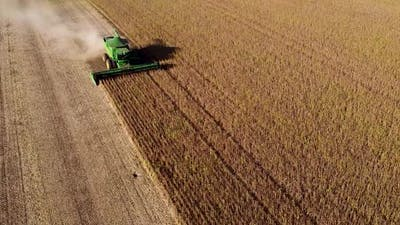 Machine Harvesting Soybeans