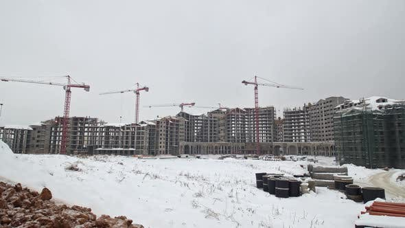 Thumbnail for Timelapse of Building Residential Compound in Winter, Russia
