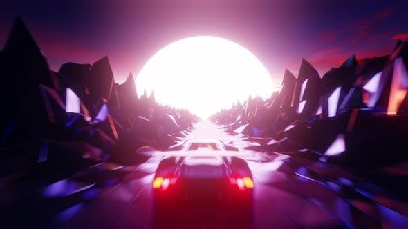 Cyber Outrun Retro Racing 4K