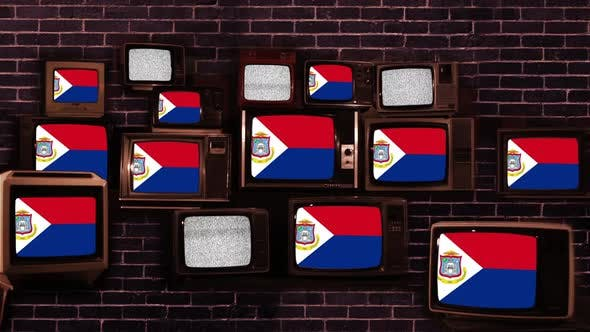 Flag of Sint Maarten and Vintage Televisions.