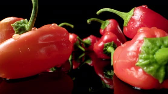 red pepper chilli paprika  super macro close-up