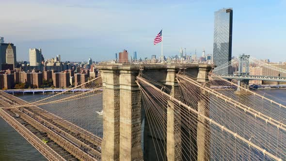 Thumbnail for Brooklyn Bridge Aerial View. Famous Landmark of New York City and the Cityscape.