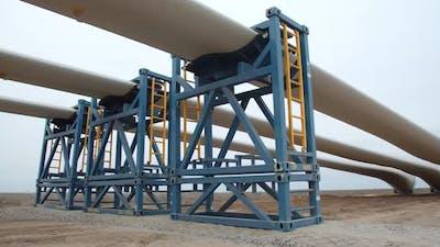 Alternative Energy Massive Blades of a Wind Turbine on the Ground
