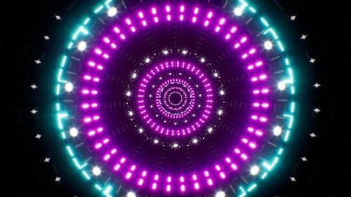 Abstract Blinking Cyan Light Purple Led Tunnel Loop 4K