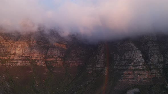 Thumbnail for Table Mountain with Fog Covering the Peak