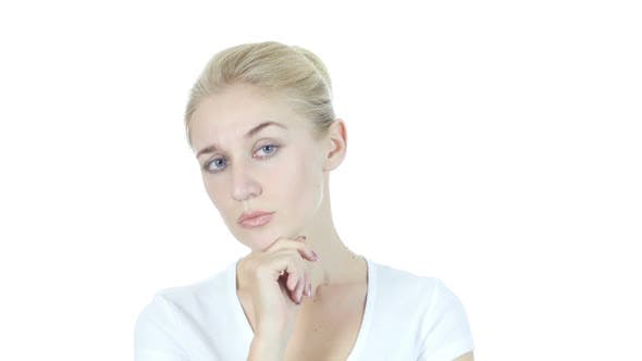 Thumbnail for Thinking, Pensive Woman, Planning, White Background