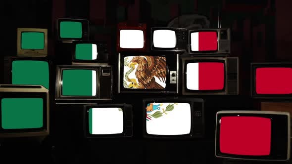 Flag of Mexico on Vintage Retro Televisions.