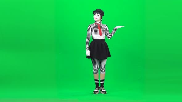 Thumbnail for Mime Acting Like Something in Hands . Chroma Key. Full Length.