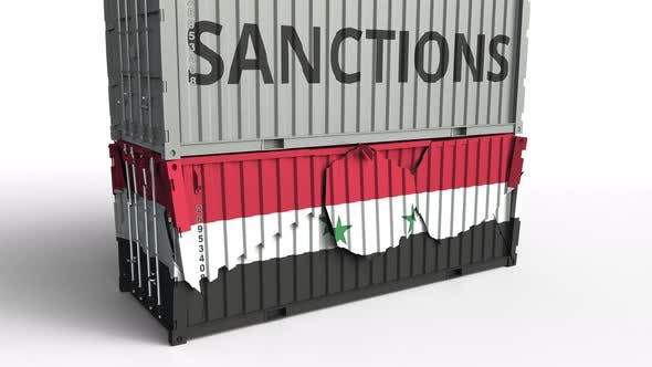 Thumbnail for Container with SANCTIONS Text Breaks Container with Flag of Syria