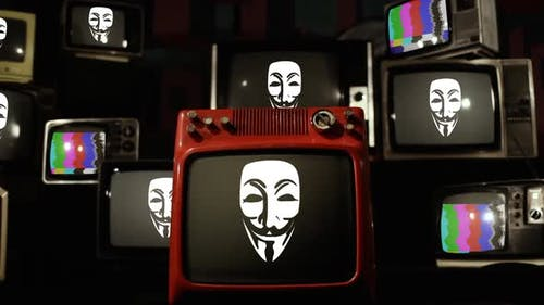 Anonymous Masks and Retro TVs.
