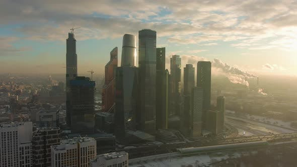 Thumbnail for Skyscrapers of Moscow City Business Center and Urban Skyline in Sunny Winter Morning. Russia