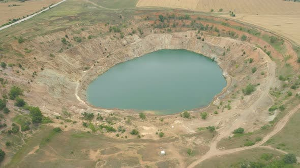 Aerial View of Wheat Fields and Abandoned Copper Open Pit Mine