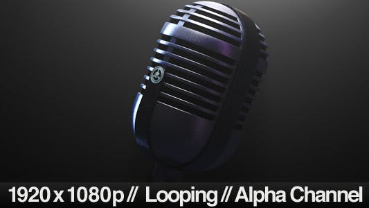 Vintage Microphone Looping with Alpha Channel