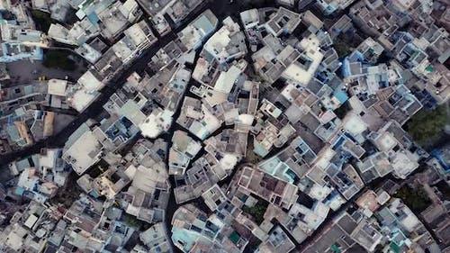 Aerial view Drone 4k of Blue City village In Jodhpur