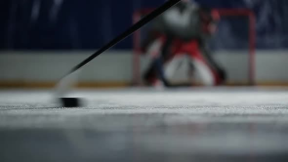 Thumbnail for Hockey Player Holds the Puck To the Gates of the Enemy and Deals a Crushing Blow