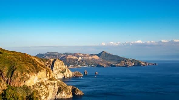The Island of Vulcano seen from Lipari, Aeolian islands in Italy