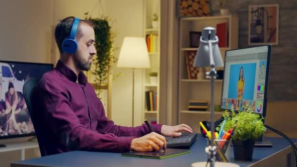 Thumbnail for Creative Man Listening Music on Headphones