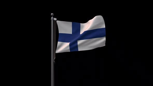 Finland Flag On Flagpole With Alpha Channel