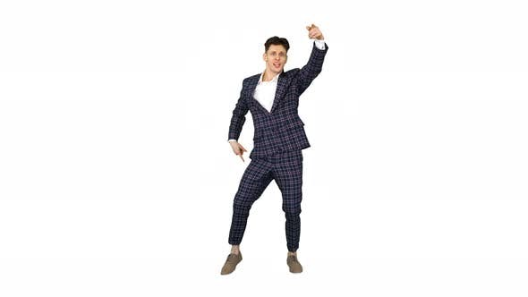 Thumbnail for Happy Successful Businessman Dancing In a Crazy Way on White Background.